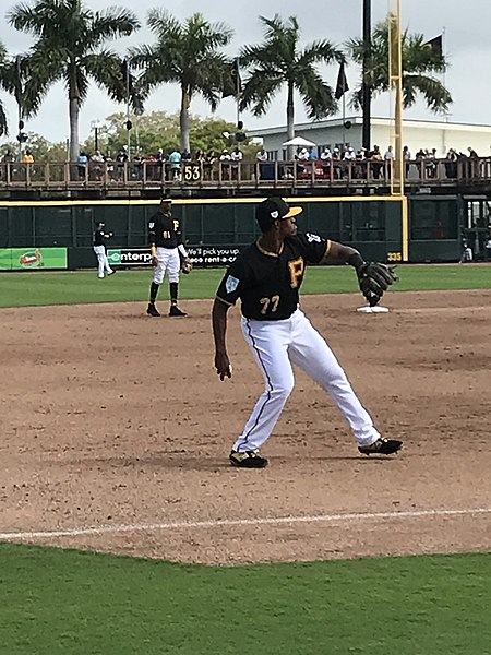 Ke'Bryan Hayes warms up before the Pirates game vs. the MIami Marlins on Feb. 24, 2019. The Pirates won the game 10-6.