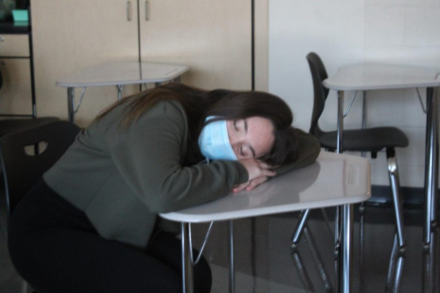 Senior Grace Rubican exhibits a case of senioritis during the school day.