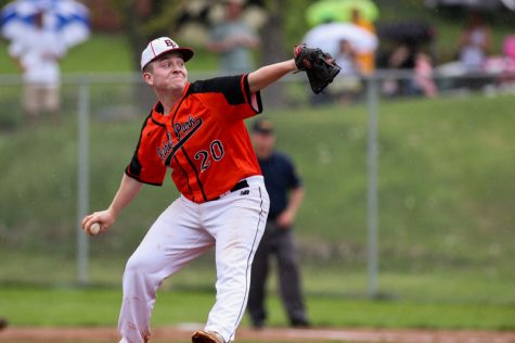 Senior (then sophomore) pitcher Josh Peters throws against Mt. Lebanon on May 3, 2019.