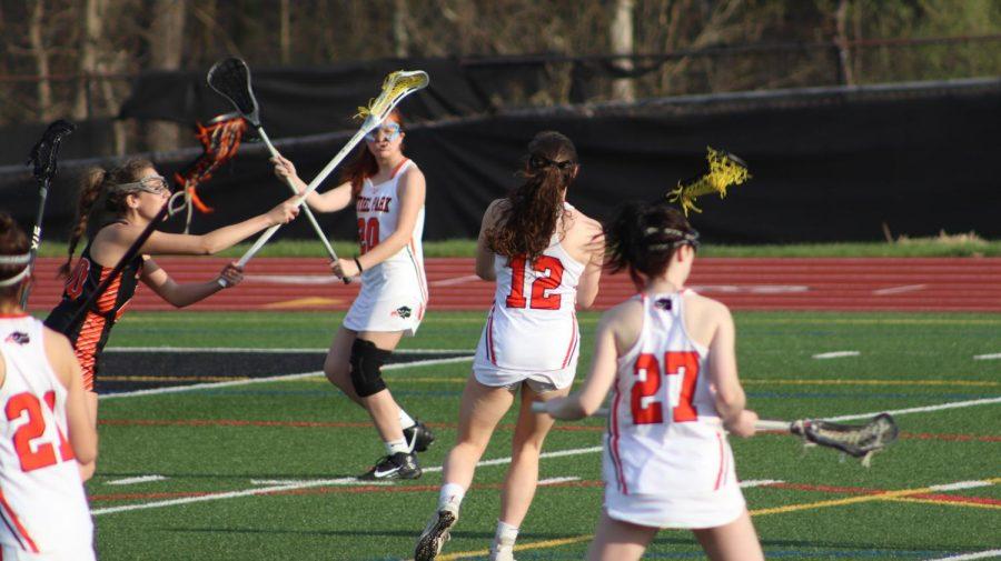Girls lacrosse battles Latrobe on April 6.