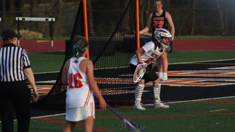 Lady Hawks defend their net against Latrobe on April 6.