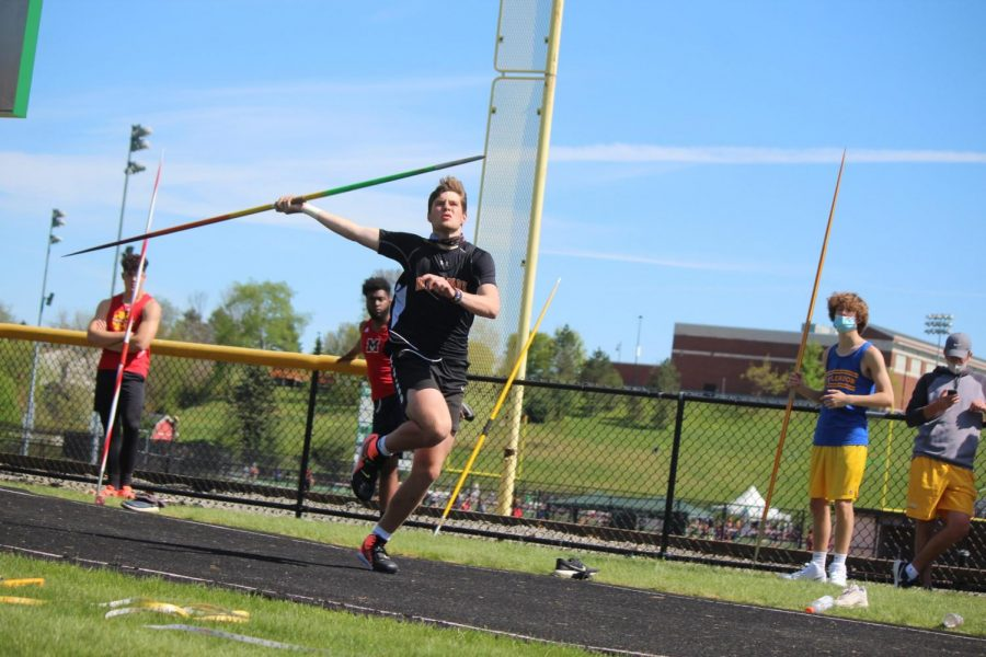 Max Blanc launches the javelin at the South Fayette Invitational on May 1.