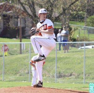 Evan Holewinski pitches against Trinity on April 20. The Hawks won 4-0.