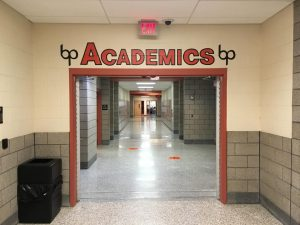 The word academics welcomes students to said wing of the school.