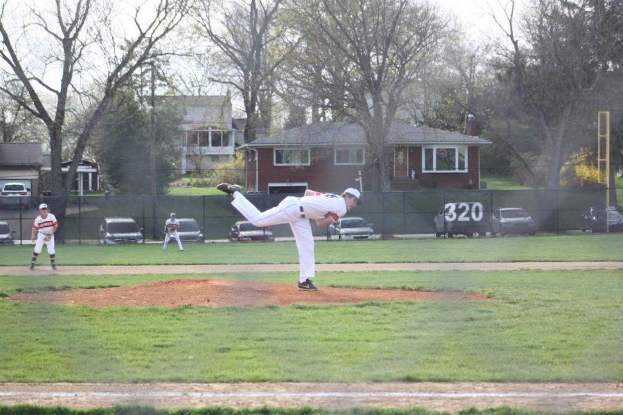 Dan Del Bene pitches in the Hawks' game vs. Baldwin on April 9.