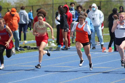 Freshman Artemis Conaboy finished fourth in the 100 meter dash at the Last Chance Meet on Tuesday, May 11 at West Mifflin.