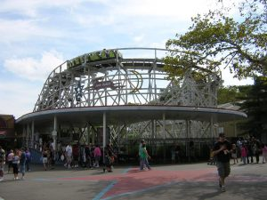 A scene from Kennywood, an amusement park located in West Mifflin, Pennsylvania on the Monongahela River.  This is a view of the historic Jack Rabbit ride. This Roller coaster ride dates to 1921.