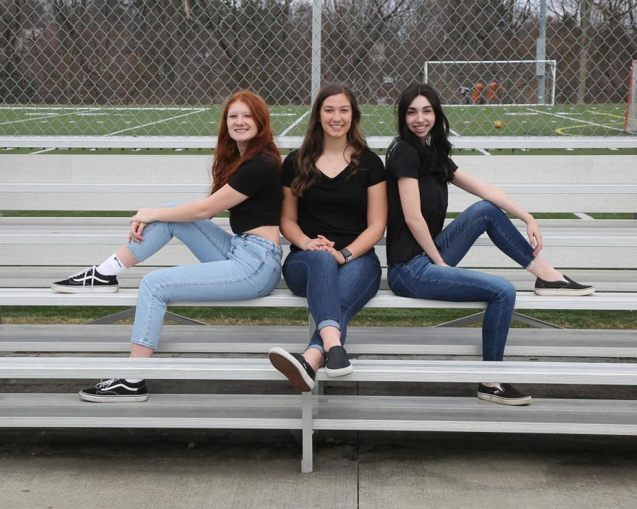 Seniors Jade Fuccaro, Lucia Coccagno, and McKenna Moriarity lead the girls lacrosse team this spring.