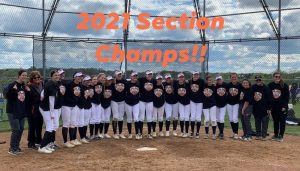 Girls fast pitch softball celebrates their section championship.