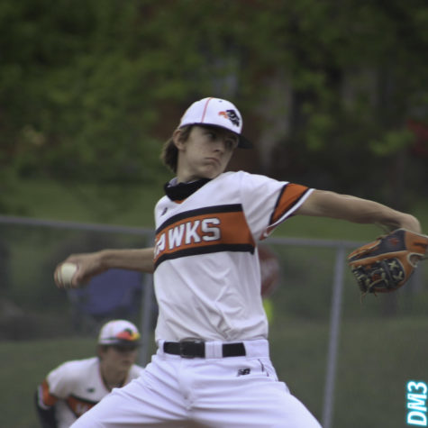 Sophomore pitcher Evan Holewinski throws the heat during the Hawks