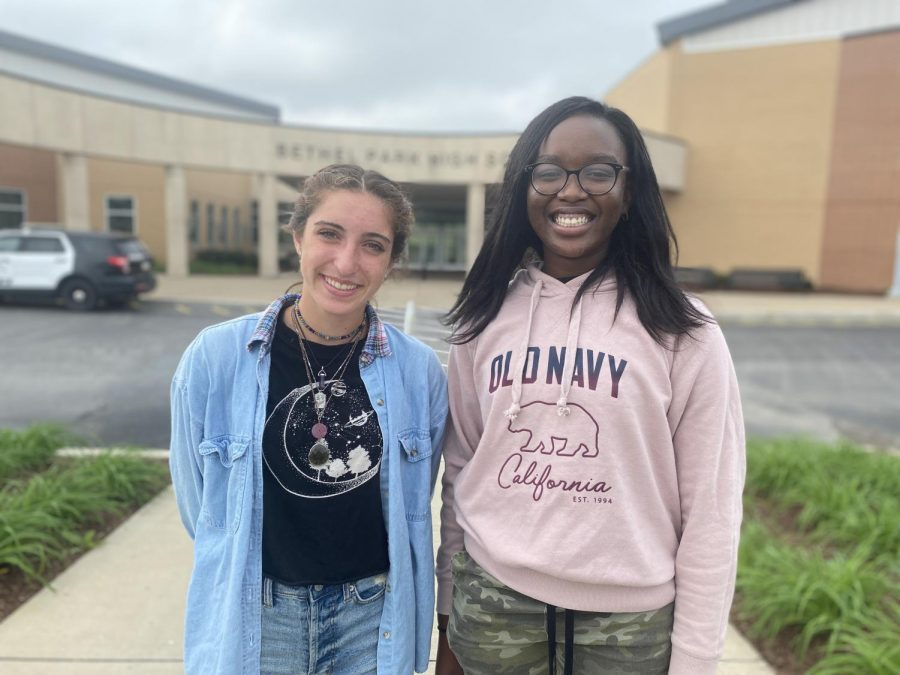 Lily+Gaston+and+Toyosi+Egbebi+proudly+stand+outside+BPHS.+The+two+were+named+semifinalists+in+the+National+Merit+Scholarship+Program.