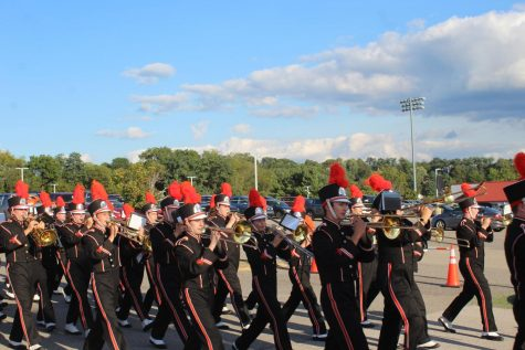 The Marching Band marches in the Homecoming Parade.