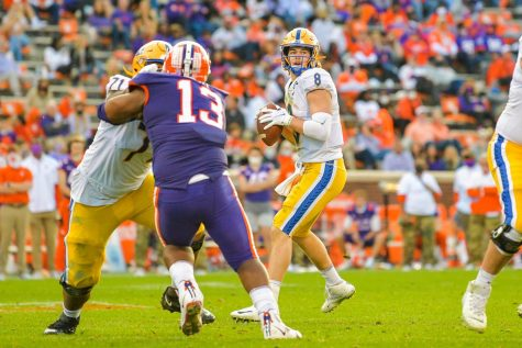 Pittsburgh quarterback Kenny Pickett(8) during during the second quarter of the NCAA football game between the Clemson Tigers and Pitt Panthers on November 28, 2020: at Memorial Stadium in Clemson, SC. (Photo by Carl Ackerman)